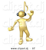 3d Cartoon Clipart of a Happy Gold Man with a Music Note Head, Dancing While Listening to Tunes Through Headphones by 3poD