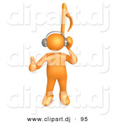 3d Cartoon Clipart of a Orange Guy with Music Note Head by 3poD