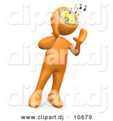 3d Cartoon Clipart of a Orange Man Belting out Music Notes from His Speaker Head by 3poD
