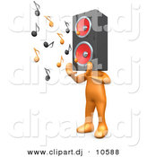 3d Cartoon Clipart of a Orange Man with Speaker Head Playing Loud Music by 3poD