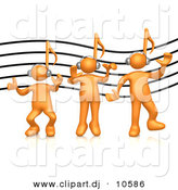 3d Cartoon Vector Clipart of a 3 Orange Music Note Head People Listening to Headphones by 3poD