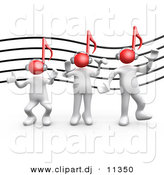 3d Clipart of a 3 White People Dancing in Front of Music Staff Background by 3poD