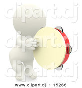 3d Clipart of a 3d White Man Playing Tambourine by Andresr