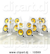 3d Clipart of a 6 White and Yellow Speakers by 3poD