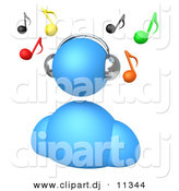3d Clipart of a Blue Avatar Listening to Music by 3poD