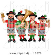 3d Clipart of a Cartoon German Oktoberfest Band by Amy Vangsgard