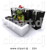 3d Clipart of a Cartoon Turtle Dj Hosting a Christmas Party by KJ Pargeter