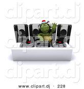 3d Clipart of a Cartoon Turtle Dj Mixing Music at a Christmas Party by KJ Pargeter