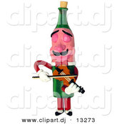 3d Clipart of a Cartoon Wine Bottle Character Playing a Violin by Amy Vangsgard