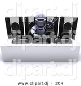 3d Clipart of a Dj Robot Mixing Records in Front of 4 Speaker Boxes by KJ Pargeter