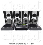 3d Clipart of a Dj Speakers Behind Dual Turn Tables and Equalizer by KJ Pargeter