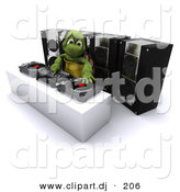 3d Clipart of a DJ Turtle Mixing Music with Speakers by KJ Pargeter