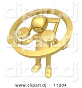 3d Clipart of a Gold Man Carrying Music Note Icon by 3poD