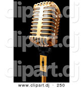 3d Clipart of a Gold Metal Microphone on Black by