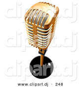 3d Clipart of a Gold Metal Microphone on White by