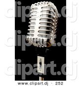 3d Clipart of a Metal Microphone on Black Background by