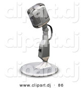 3d Clipart of a Metal Microphone with a Stand by KJ Pargeter