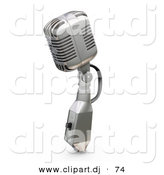 3d Clipart of a Metal Microphone with a Switch Against White by KJ Pargeter