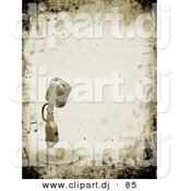 3d Clipart of a Metal Retro Microphone over a Grunge Background with Musical Notes by KJ Pargeter