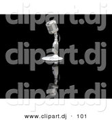 3d Clipart of a Microphone on a Stand Against a Reflective Black Surface by KJ Pargeter