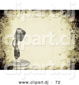 3d Clipart of a Old Vintage Metal Microphone over Grunge Styled Background Bordered by Music Notes by KJ Pargeter