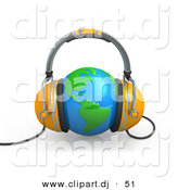 3d Clipart of a Orange Headphones over Blue Globe by 3poD