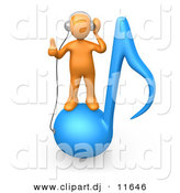 3d Clipart of a Orange Man Wearing Headphones While Standing on Blue Music Note by 3poD