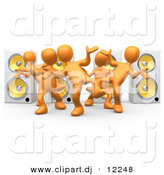 3d Clipart of a Orange People Dancing at a Party in Front of 4 Speakers by 3poD