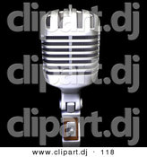 3d Clipart of a Retro Metal Microphone Face Front by Frank Boston