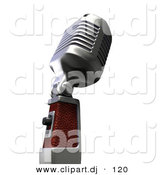 3d Clipart of a Retro Metal Microphone from Side Angle by Frank Boston