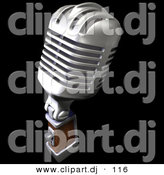 3d Clipart of a Retro Metal Microphone on Black by Frank Boston