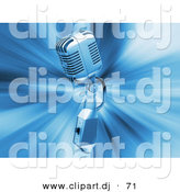 3d Clipart of a Retro Metal Microphone on Blue Bursting Background by KJ Pargeter