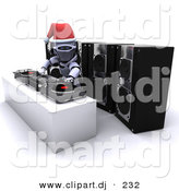 3d Clipart of a Robot Dj Mixing Records at a Christmas Party by KJ Pargeter