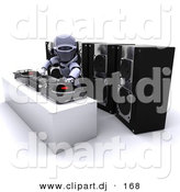 3d Clipart of a Robot Mixing Records on Turn Tables by KJ Pargeter