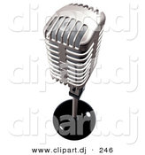 3d Clipart of a Silver Metal Microphone by