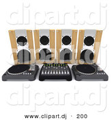 3d Clipart of a Speakers Behind Dual Turn Tables with Equalizer by KJ Pargeter