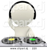 3d Clipart of a White DJ Mixing Dual Records by Andresr