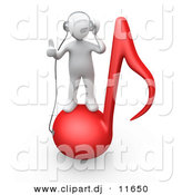 3d Clipart of a White Man on Red Music Note While Wearing Headphones by 3poD
