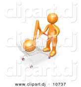 3d Clipart of an Orange Man Shopping for Music with a Push Cart by 3poD