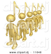 3d Clipart of Gold Men Featuring Music Note Heads While Standing in Single File Line by 3poD