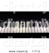 3d Clipart of Piano Keys - Black and White by Frank Boston