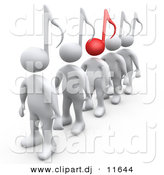 3d Clipart of White People with Music Note Heads, One Is Standing out with a Red Head by 3poD