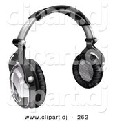 3d Vector Clipart of a Audio Headphones - Black and Silver by AtStockIllustration