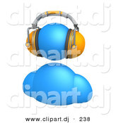 3d Vector Clipart of a Blue Avatar Character Wearing Orange Headphones by 3poD