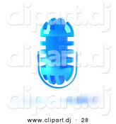 3d Vector Clipart of a Blue Floating Mic by Julos