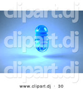 3d Vector Clipart of a Blue Floating Microphone by Julos