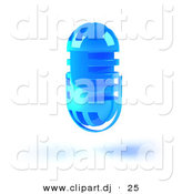 3d Vector Clipart of a Blue Floating Microphone Head by Julos