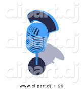 3d Vector Clipart of a Blue Retro Microphone on Stand by Julos