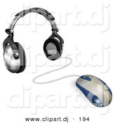3d Vector Clipart of a Computer Mouse Wired to Headphones by AtStockIllustration