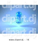 3d Vector Clipart of a Floating Microphone Against Blue Background by Julos